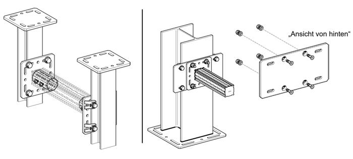 Klemmen und Klemmen mit Adapterplatte