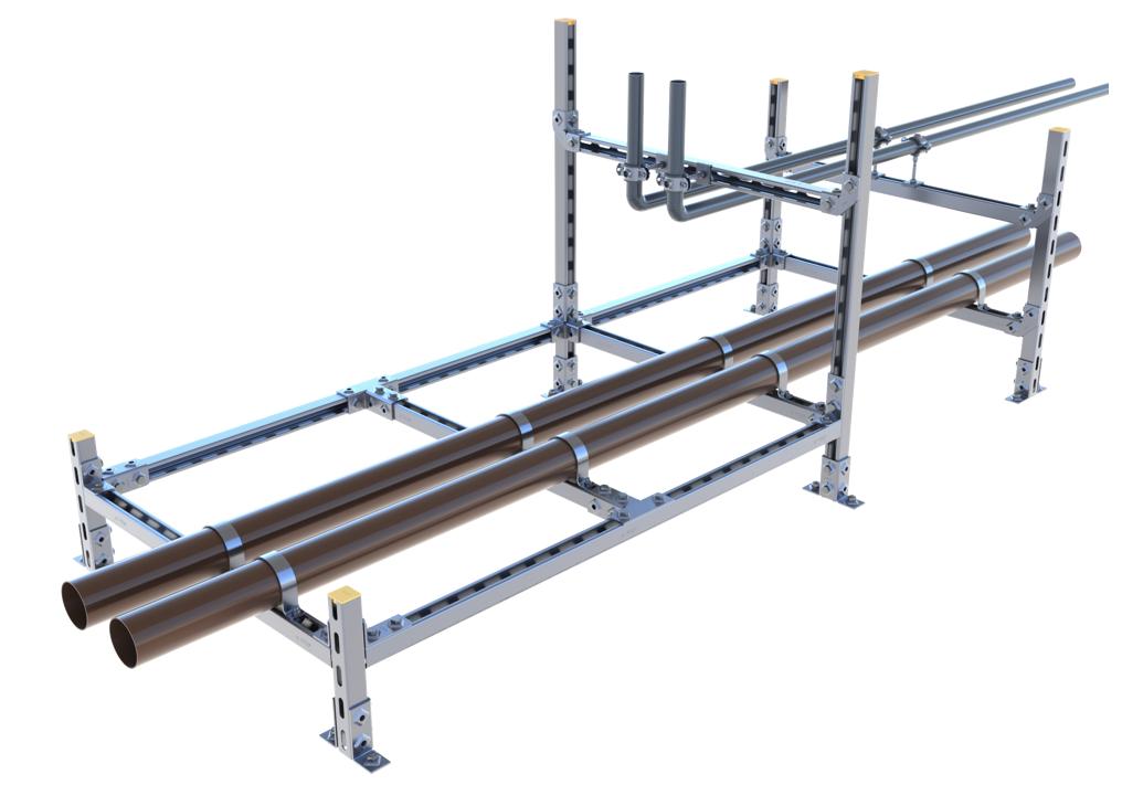 Rahmenkonstruktion mit Eckverbindern gebaut